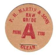 Buy New York Olean Milk Bottle Cap Name/Subject: P. H. Martin & Sons Raw Grade~418