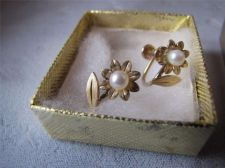 Buy Vtg Van Dell Flower w/ Faux Pearl Center Screwback Earrings...1/20 12K GF