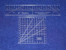 "Buy 2 Piece Ruler Set. 3"" Square & 6"" Long -Acrylic 1/8"" thick. Quilting/Sewing"