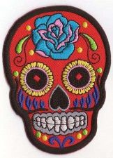 Buy RED SUGAR SKULL TATTOO LOGO SIGN, APPLIQUE IRON ON PATCH EMBROIDERED BADGE