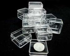 "Buy 144 SMALL CLEAR PLASTIC BOXES SQUARE 1"" + LIDS For Beads Jewelry Gem Small Items"
