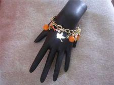 "Buy Womens Goldtone Chain link Bird & Flower Charm bracelet 6 1/4"" # 58"