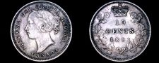 Buy 1891 Canada 10 Cent World Silver Coin - Canada - Victoria - 22 Leaves