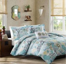 Buy QUEEN 4 Pc Paisley Comforter Set BLUE Flowers Floral Yellow Gray Moroccan Teal