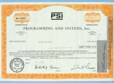 Buy New York na Stock Certificate Company: PSI Programming And Systems, Inc. ~63