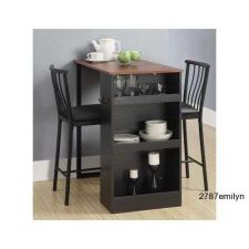 Buy Dining Table Sets 3 Pc. Dinette Bar Pub Chairs Kitchen Counter Height Black Wood