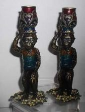 Buy Olivia Riegel Brass enameled jeweled monkey candle sticks set of 2