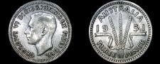 Buy 1951 Australian 3 Pence Silver World Coin - Australia