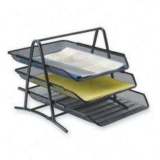 Buy Tray Documents 3-Tier Steel Mesh Desk Paper Storage Office Organizer Holder Rack