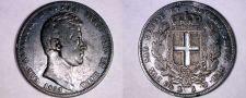 Buy 1833 Italian States Sardinia 5 Lire World Silver Coin - Toned