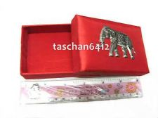 Buy CHINESE RED COLOR THAI SILK WITH ELEPHANT SILVER COLOR NAMECARD BOX