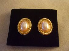 Buy Sarah Coventry Jewelry..Pearl Rope Oval Button Earrings...clip on #1073