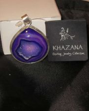 Buy NWT Khazana Deep Purple Druzy Pendant Sterling Silver Rounded Teardrop New Tag