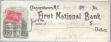 Buy New York Cooperstown Cancelled Check First National Bank of Cooperstown Ch~33