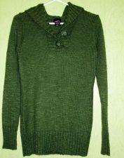 Buy Sweater Green Wool, Acrylic, Polyester knit Hoodie size Juniors XL