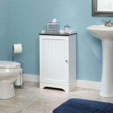 Buy Bathroom Space Saver Floor Bath Cabinet White Furniture Storage Sauder Wood