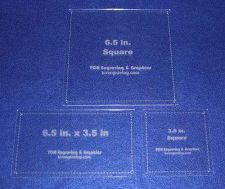 "Buy 3.5"" Square, 6.5""x 3.5"" Rectangle, 6.5"" Square -1/8"" Quilting/Sewing Templates"