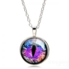 Buy Dragon Cat Eye Glass Cabochon Silver Plated Pendant Necklace USA Seller
