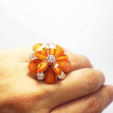Buy 1PC SOLID LOVELY FLOWER RING WITH CRYSTAL ORANGE MAGNIFICENT FASHION JEWELRY.