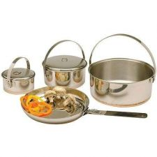 Buy New outdoor Family Stainless Steel Cook Set Cookware camping hiking pot fry pan