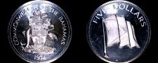 Buy 1974 Bahamas 5 Dollar Proof World Silver Coin