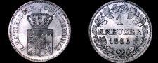 Buy 1866 German States Bavaria 1 Kreuzer World Silver Coin