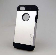 Buy New Spigen Tough Armor Cover Case For iphone 5 5S Silver Free Screen Protector