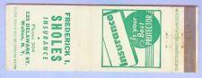 Buy New York Walton Matchcover Advertising Frederick I Sholes Insurance 125 De~136