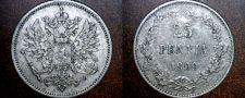 Buy 1909-L Finland 25 Pennia World Silver Coin Russian Admin