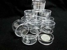 "Buy 24 Small Clear Plastic Display Box Round Diameter 1"" Beads Accessories Miniature"