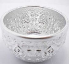 Buy THAI TRADITIONAL WATER SILVER BOWL CUP STYLE ACIENT ART BAS-RELIEF GIFT SOUVENIR