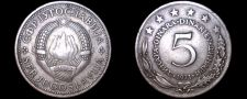 Buy 1971 Yugoslavia 5 Dinara World Coin