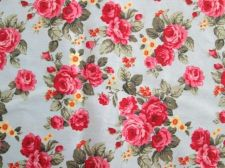 Buy Pink Rose Vintage Floral Fabric & Sky Blue Cotton Square Fat Quarter 55 x 55 cm