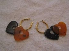Buy Sarah Coventry Jewelry..Hoops w/interch hearts earrings (Sand hearts wire) #1130
