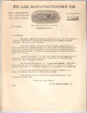 Buy New York Brooklyn Letterhead / Billhead Ex-Lax Manufacturing Co. 431-443 A~36
