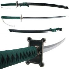 Buy Unique Traditional 40 Inch Samurai Sword with Two Tone Blade and Green Trim KAMA