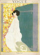 Buy Vogue 1920 Cover Print Lady Hat Floral Wallpaper Art Deco 1984 original print