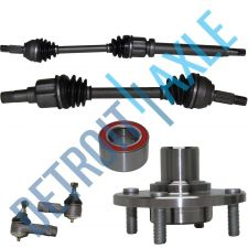 Buy 2 Front CV Axle Shafts + 2 NEW Tie Rod Ends + NEW Wheel Hub and Bearing Assembly