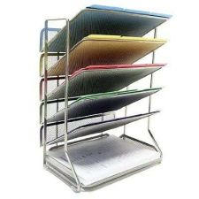 Buy Files Office Desk Wall Organizer Mesh Holder Letter Documents Folders 6 Trays W/