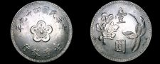 Buy 1960 YR49 Taiwan 1 Yuan World Coin - China Formosa