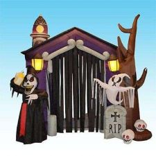 Buy 8 5 Foot Halloween Inflatable Haunted House Castle With Skeleton Ghost Skulls Ha