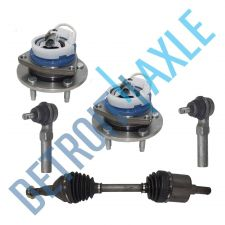 Buy 5 pc Set: Front Right CV Axle + 2 Outer Tie Rod + 2 Wheel Hub Bearing w/ABS; FWD
