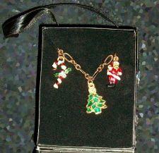 Buy Charm Bracelet, silver Snow people Earrings, Jingle Bell santa Necklace