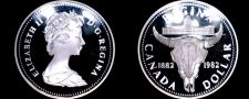 Buy 1982 Proof Canadian Silver Dollar World Coin - Canada Cattle Skull