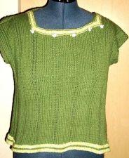 Buy Sweater, Cotton, Sleeveless, Green, handmade S-M