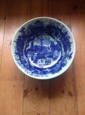 Buy VERY LARGE VINTAGE VICTORIA WARE BLUE WILLOW PORCELAIN BOWL - Fruitbasket