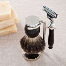 Buy Modern or Monogram Badger Hair Brush and Razor Shaving Set-Free Personalization