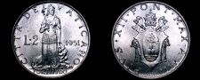 Buy 1951 Vatican City 2 Lire World Coin - Catholic Church Italy