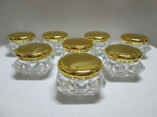 Buy 25 Empty Cosmetic Cream Acrylic Plastic Jars Pot Container Bottles Gold Caps 5 g