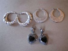 Buy 3 Pair of Hoop & Heart Pierced Earrings # 91